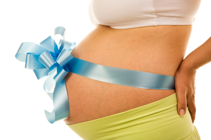 Pregnant Woman with Blue Bow